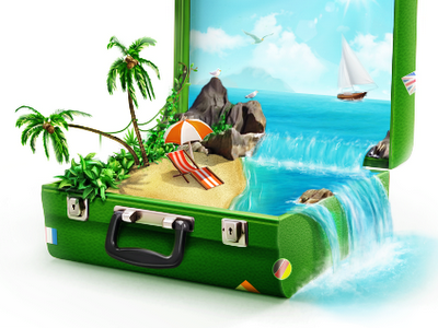 Green suitcase beach ocean sea green tourism lager suitcase vacation