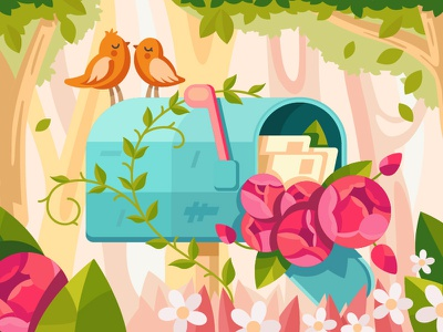 Mailbox tree leaf garden rose peony flower letter birds love mailbox