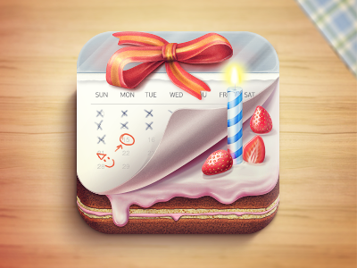 Birthday icon ios cake candle strawberry cream box calendar date birthday party