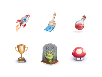 Grafica icons rocket bottle cup zombie mushroom rip gold paint trophy