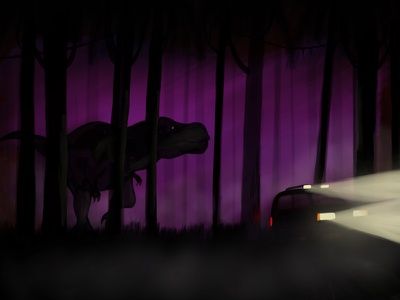 Dinosaur Hunting - personal project dinosaur procreate illustration