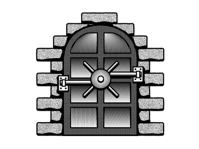 Vault Door woodcut scratchboard castle vault