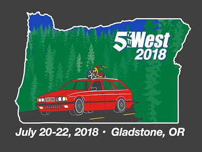 5erWest 2018 t-shirt design big wheel touring 5erwest oregon bmw