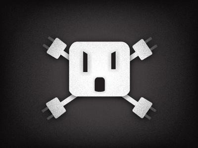 Electrical Outlet Skull-n-Crossbones outlet black white safety skull and crossbones jolly roger