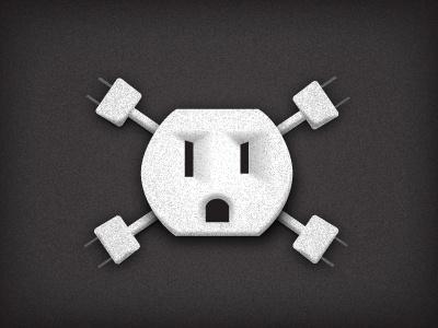Electrical Outlet Skull-n-Crossbones 2 black white outlet safety jolly roger skull and crossbones