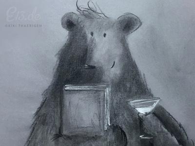 Martinibear traditional illustration charcoal drawing martini book bear