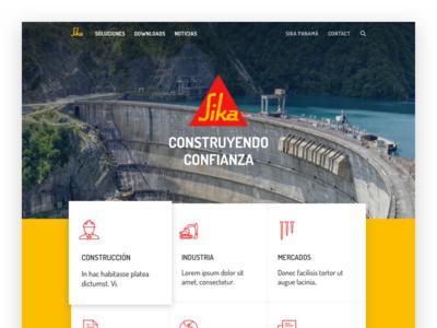 Sika Redesign layout blocks block unsplash yellow branding website refresh redesign webdesign design web