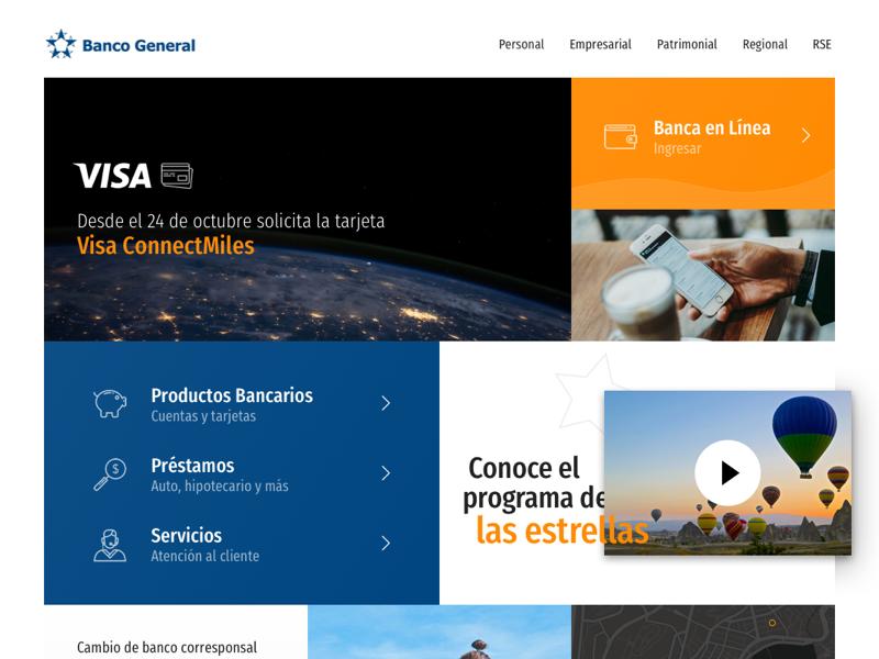 Banco General Redesign web design webdesign redesign refresh website branding orange unsplash block blocks layout