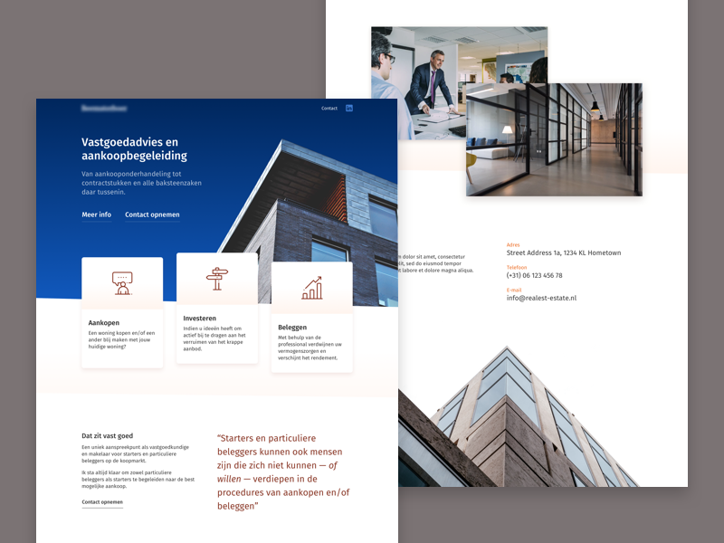 Real Estate Landing wordpress web vastgoed ui template startup makelaar estate real design company