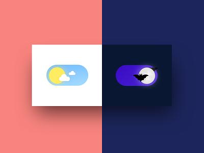 Day Mode / Night Mode ui component austin designer austin bats uidesign ui dark theme toggles toggle