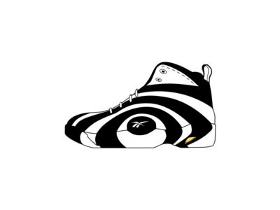 Shaq Nosis simple clean white black symbol icon training trainer sneaker sports reebok shaq