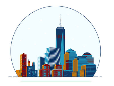NYC snowglobe one world trade center illustration skylines snow globe snow buildings skyline nyc snowglobe