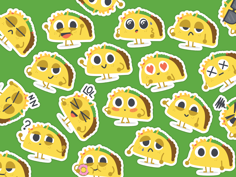 """""""Let's Taco Bout It"""" iMessage Stickers cute illustration stickers taco imessage"""