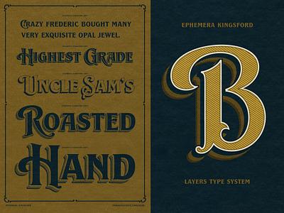 Ephemera Kingsford Font typography design hand lettering handlettering font typeface texture lettering vintage
