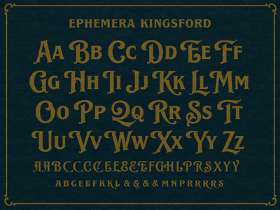 Ephemera Kingsford Font typography logo handlettering typeface texture lettering font vintage