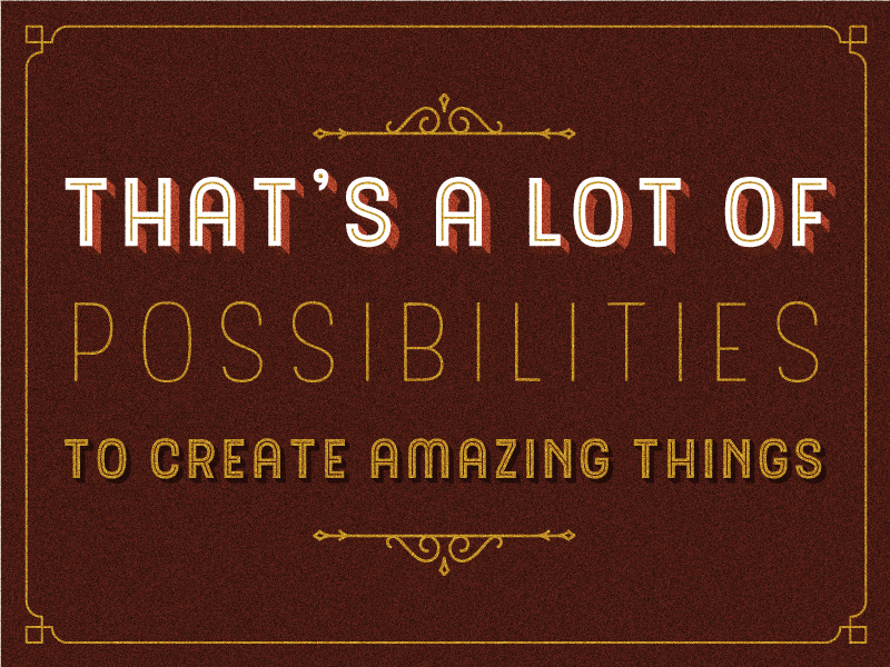 Possibilities 3d sign layered font