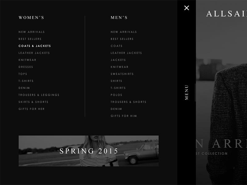 Allsaints menu