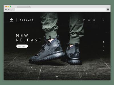 WIP - Adidas Tubular Website (Concept) : Dark ecommerce ui design website design footwear minimal ui desktop website