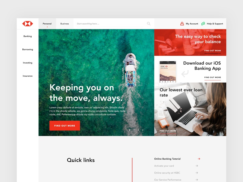 Redesign of HSBC by Mark O'Donoghue on Dribbble