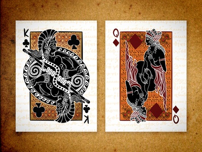 KC & QD : Fall of Troy ][ Epic Playing Cards epic playing cards fall of troy queen of diamonds king of clubs playing cards poker illustration