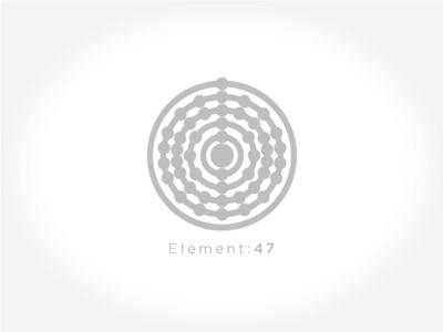 E:47 Logo brand icon fibonacci atomic design logo silver