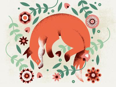 Fox pattern flowers fox