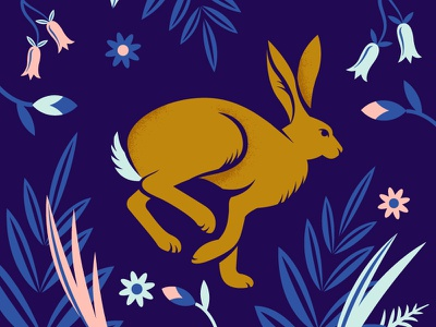 Hare pattern rabbit animals floral flowers hare