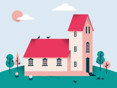 House roof trees birds building steeple church house