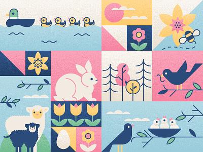 Easter ducks lambs sheep bunny chicks birds daffodil spring easter