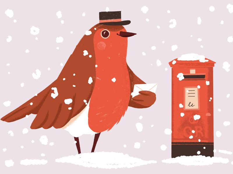 Christmas Robin mailbox mail snow seasons greetings greetings card festive post postbox bird robin 2018 christmas