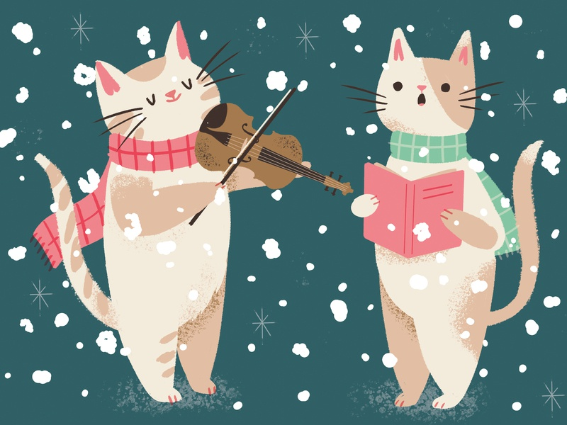 Christmas Carolling Cats scarves snow singing violin fiddle cats greetings card festive carols christmas