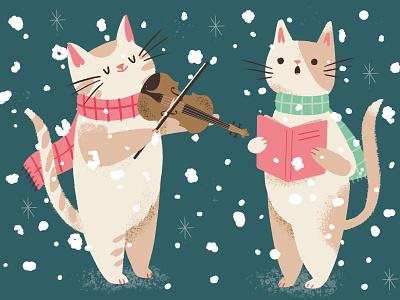 Christmas Carolling Cats scarves snow singing violin fiddle cats greetings card festive carols christmas