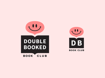 Double Booked Logo face identity chat bubble branding book club book logo
