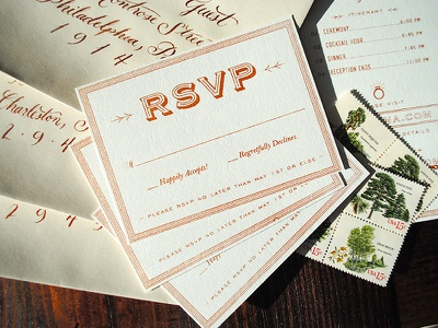 RSVP Cards print french paper co screen print metallic copper wedding design wedding rsvp
