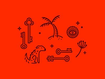 doodles line dog illustration monoweight keys palm