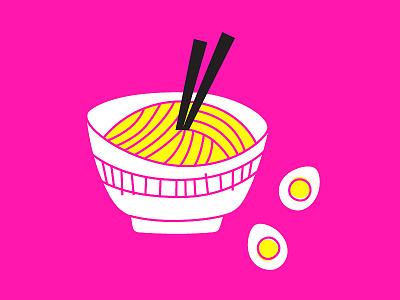 noodles egg line illo ramen noodles illustration