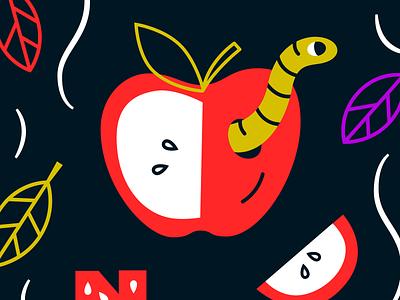 Big Apple vector illo new york worm apple fall line monoweight illustration new york city