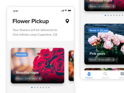 Daily UI #01 / Flower Pickup for iOS ux ui iphone ios flowers pickup deliver light