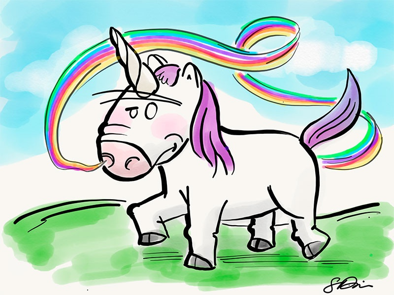 Stinky Unicorn rainbow farts adobe sketch ipad pro illustration vector unicorn