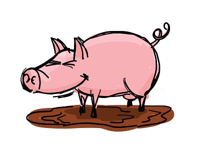 Pig adobe draw farm vector pic 100daychallenge