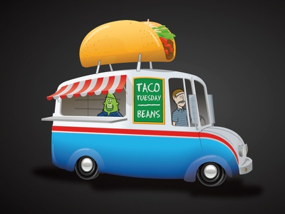 Taco Truck cartoon vector truck taco
