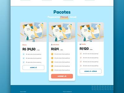 UI Design for Clubinho Literário 2 pricing page cta plans ui cards ui user interface design user interaction identity ux ui