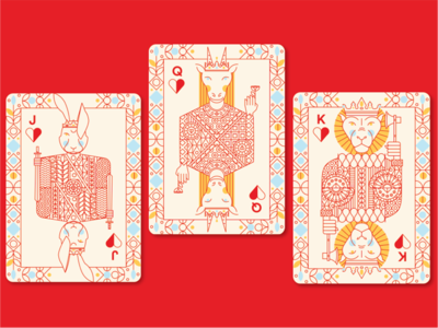 Animal Kingdom jack queen king antelope lion jack rabbit playing cards illustration animal kingdom
