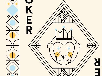 Animal Kingdom monkey joker playing cards monoline illustration animal kingdom