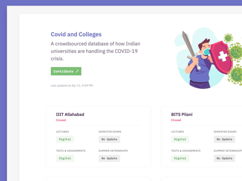 Covid and Colleges product ux listing dashboard coronavirus covid college list minimal ui