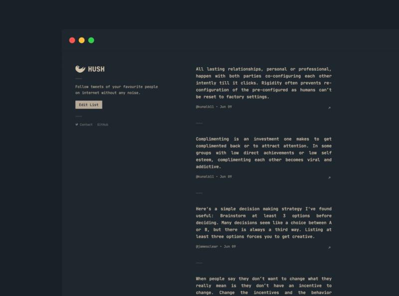 Hush app branding typography flat minimal ui ux twitter feed web app twitter
