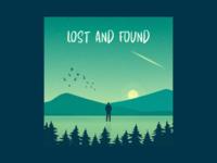 Lost and Found landscape trees solitude depression alone birds man design flat vector minimal illustration
