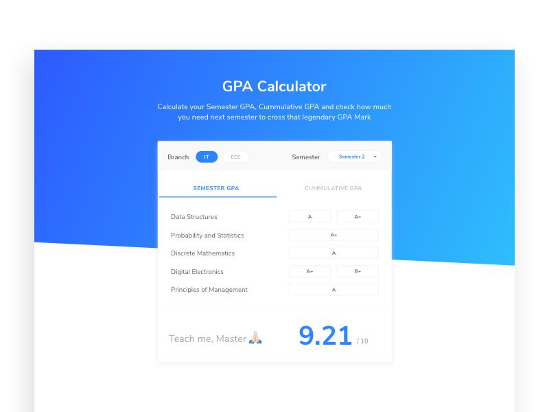 GPA Calculator by Abhishek Sharma on Dribbble