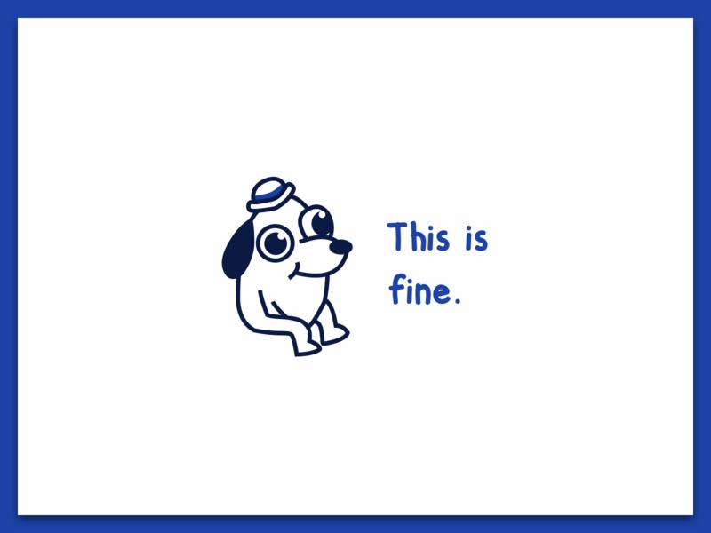 This is fine flat monochrome minimal dog meme fine