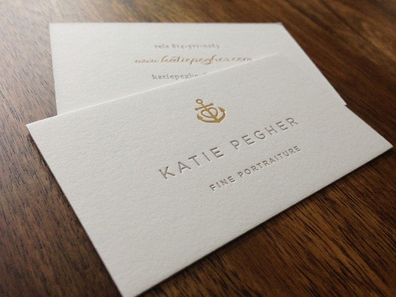 Katie Pegher Business Card anchor heart braizen letterpress foil stamped gold foil simple photographer
